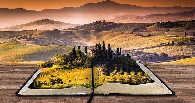kniha s krajinou
