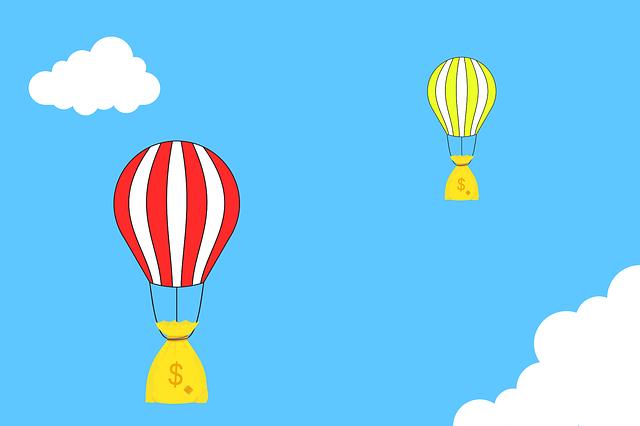 pytle peněz jako balóny