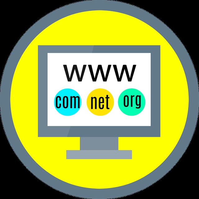kreslená obrazovka počítače na žlutém pozadí s nápisem www a doménami